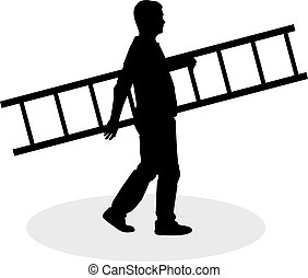 Man with ladder.