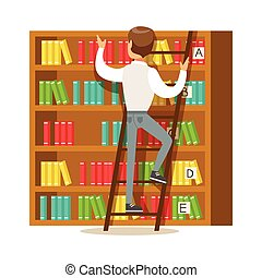 Man With Ladder Searching For A Book On Bookshelf, Smiling Person In The Library Vector Illustration