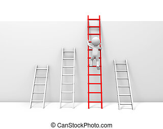 Man with ladder - 3d man, people, person climbing the red...