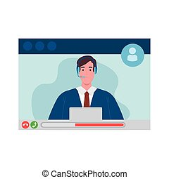 Man with laptop and headphone in video chat screenshot design, Call online conference and webcam theme Vector illustration