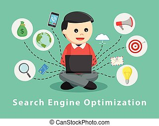 Man with laptop and SEO icons