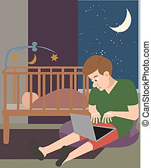 man with laptop babysitting at night cartoon