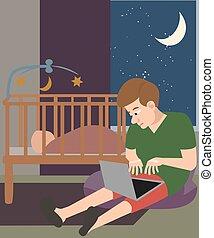 man with laptop babysitting at night cartoon