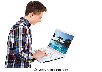 man with laptop buying online