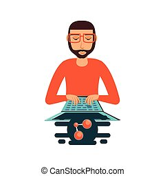 man with laptop computer and share symbol