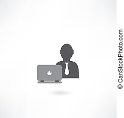 man with laptop icon