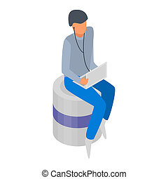 Man with laptop icon, isometric style - Man with laptop...