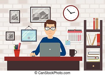 Man With Laptop In Modern Room