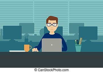 Man with laptop in office room