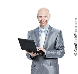 man with laptop in the white background