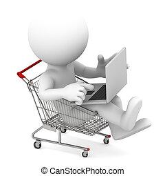 Man with laptop inside shopping cart. Online shopping...