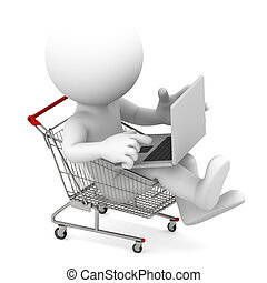 Man with laptop inside shopping cart. Online shopping...