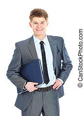 man with laptop on a white background