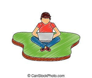 man with laptop sitting on the floor
