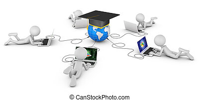 man with laptops and globe with a graduate cap. 3d...