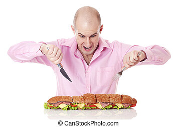 Man with large sandwich. - Adult mad man with big sandwich ...
