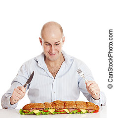 Man with large sandwich. - Adult man with big sandwich ...