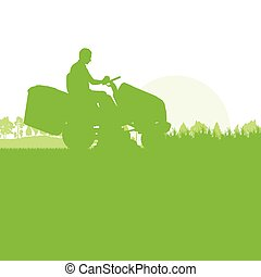 Man with lawn mover cutting grass vector background ecology...