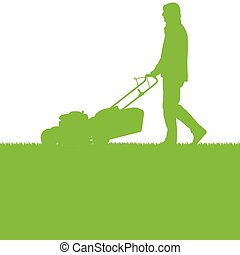 Man with lawn mover cutting grass