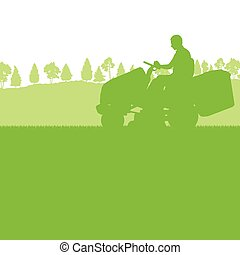 Man with lawn mover cutting grass vector background ecology ...