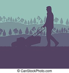 Man with lawn mover cutting grass vector background for poster