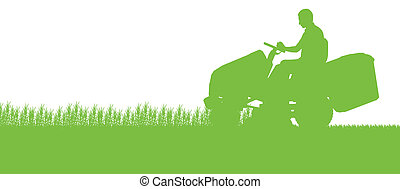 Man with lawn mower tractor cutting grass in field landscape abstract background illustration