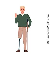 man with leg prosthesis perfectly imperfect character vector illustration design