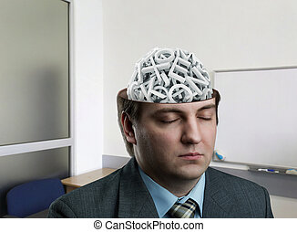 Man with letters in his brain