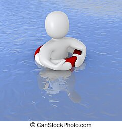 Man with life ring in ocean. 3d rendered illustration.