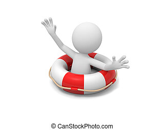Man with lifebuoy - A 3d man shouting for help with a...