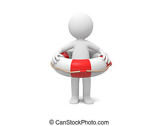 Man with lifebuoy - A 3d man standing with a lifebuoy