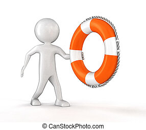 Man with Lifebuoy. Image with clipping path