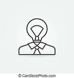 Man with light bulb head icon