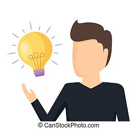 man with light bulb idea icon