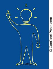 Scribble style man with light bulb instead of head in moment of insight, EPS 10 vector illustration