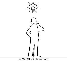 Black line art illustration of a man with a lightbulb above his head.