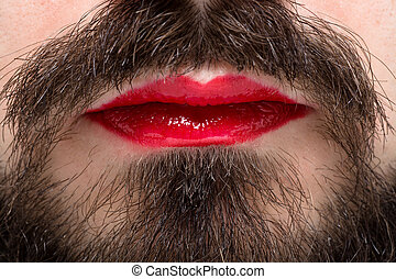 Man with Lipstick - Man's Mouth with Red Lipstick on His...
