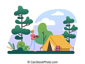Man with log pile standing at the camping tent