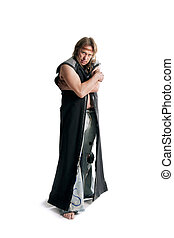 Man with long hair in retro clothes