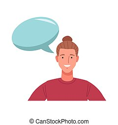man with long hair perfectly imperfect character with speech bubble vector illustration design