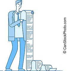 Man with long list. Businessman reading long list tax document. Confused professional paper problem bankruptcy business vector concept