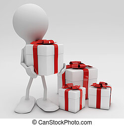 Man with lots of gifts. 3d rendered Cellebrations concepts.