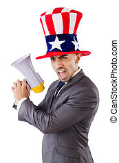 Man with loudspeaker and american hat