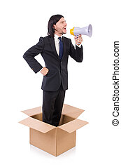 Man with loudspeaker in the box