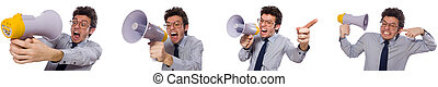Man with loudspeaker isolated on white