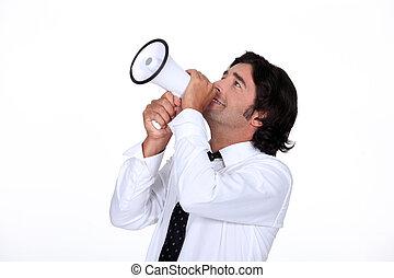 Man with loudspeaker