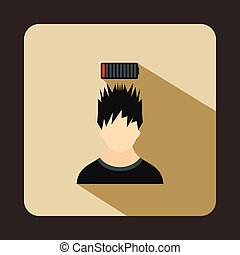 Man with low battery over head icon, flat style