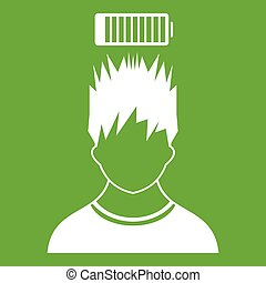 Man with low battery over head icon green