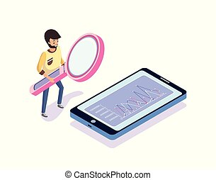 Man with Magnifier Looking at Phone, Chart Vector