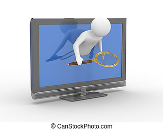 man with magnifier looking out of TV. Isolated 3D image